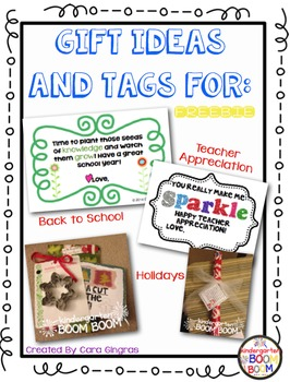 Gift Ideas and Tags for Teachers, Volunteers, and Helpers