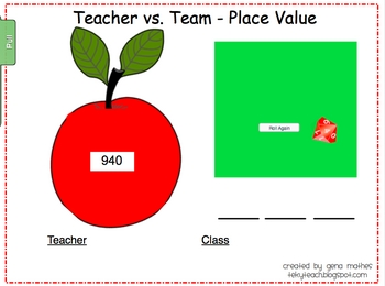 Teacher Vs. Team (3 digit numbers) - For SMART Board