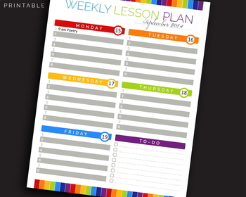 Teacher Weekly Lesson Plan, Lesson Plans, Homeschool || JPG + Editable PDF