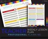 Teacher Weekly Lesson Plan, Lesson Plans, Homeschool || JPG + Editable PDF