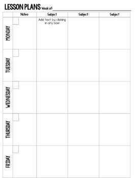Teacher Weekly Lesson Plan Template