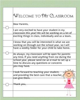 Teacher Welcome Note