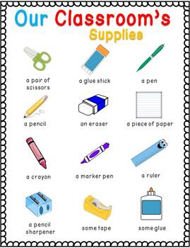 Teacher, What is this? - Common Classroom Supplies Poster and Stickers