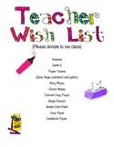 Teacher Wish List