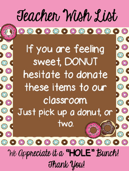 Teacher Wish List for Back To School -Donut Theme