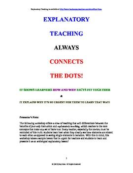 Teacher Workshop! Explanatory Teaching for Maximum Gains!