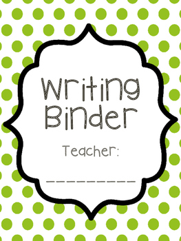 Teacher Writing Binder