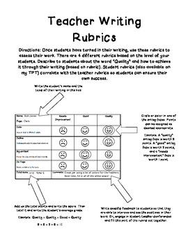Teacher Writing Rubrics