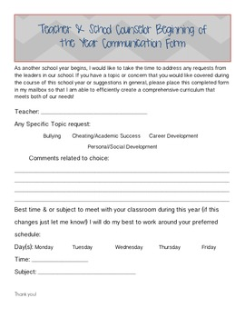 Teacher and Counselor Beginning of the Year Communication Form