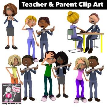 Teacher and Parent Clip Art 6 Color Images