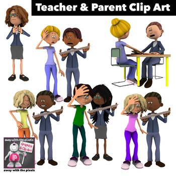 Teacher and Parent Clip Art 6 Color Images