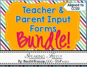 Teacher and Parent Input Rating Forms Bundle