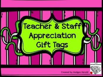 Teacher and Staff Appreciation Tags