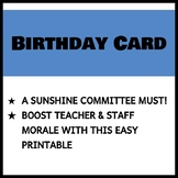 Teacher and Staff Birthday Card