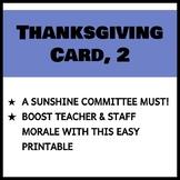Teacher and Staff Thanksgiving Card 2