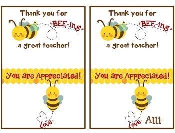 Teacher appreciation gift - tag for Burt's Bees chapstick