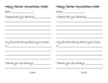 Teacher appreciation week letter