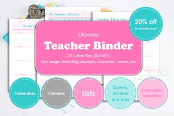 Teacher binder, printable. Teacher school year planner.