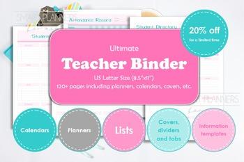 Teacher binder, printable. Teacher school year planner. DI