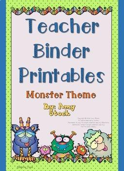 Teacher binder printables:  Monster theme