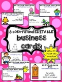 Teacher business cards- colorful and cute