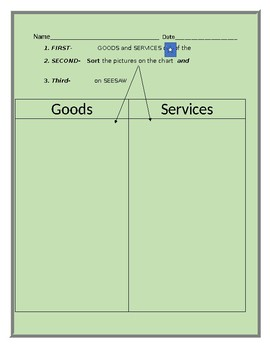 Teacher created printable magazine with sorting worksheet for goods and services