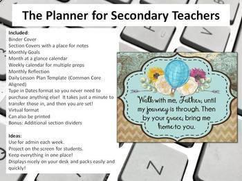 Digital Teacher Planner for Three Preps, Journey