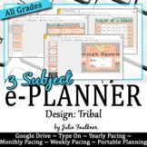 Digital Teacher Planner for Three Preps, Tribal