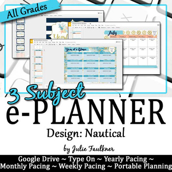 Digital Teacher Binder for Secondary with Multiple Preps, Nautical