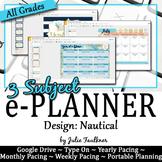 Digital Teacher Planner for Three Preps, Nautical