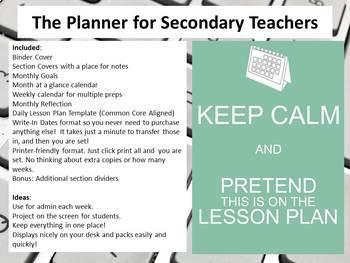 Digital Teacher e-Planner for Secondary with Multiple Preps Quatrefoil