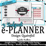 Digital Teacher Planner for Three Preps, Quatrefoil