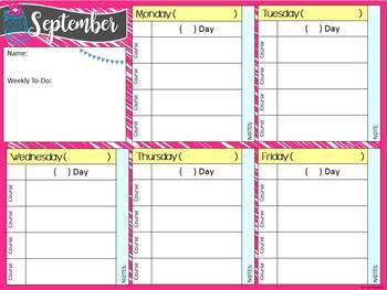 Digital Teacher Binder for Secondary with A/B Blocks or 4 Preps, Brights