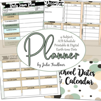 Digital Teacher Binder for Secondary with A/B Blocks or 4 Preps, Dots