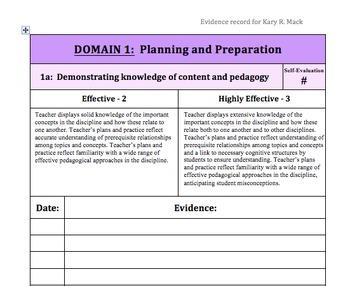 Teacher evaluation evidence binder resources.