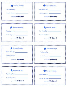 Teacher for the Day Reward Cards