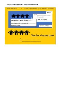Teacher good will cheque book template