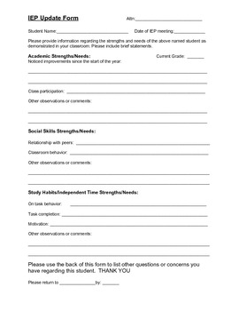Teacher input form for upcoming IEP meeting by The School ...