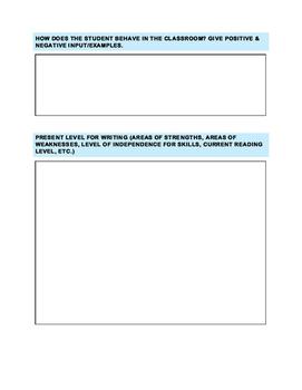 Teacher input form for writing IEPs