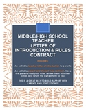 Back-to school teacher letter to parents + rules and procedures contract!