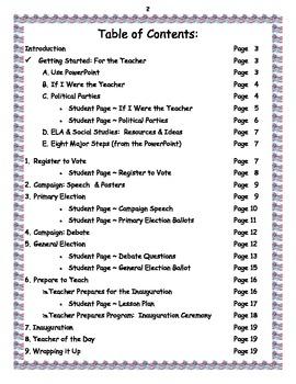 Teacher of the Day ~ Election  ~ Lesson Plans & Worksheet Bundle