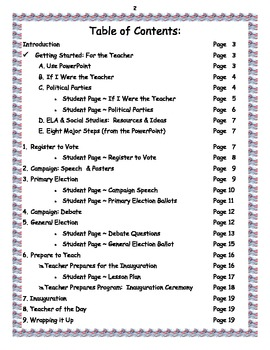 Teacher of the Day ~ Election  ~ Lesson Plans & Worksheet Bundle