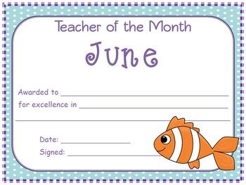 Teacher of the Month Awards (August - June)