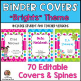 Teacher or Student Binder Covers with Spines {Editable}