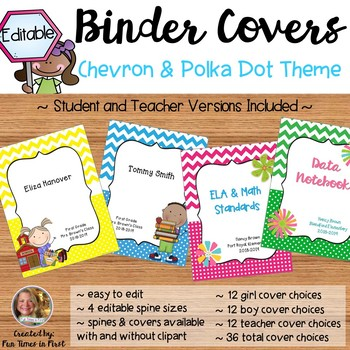 Teacher or Student Binder Covers with Spines {Editable} Chevron and Polka Dot
