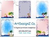 Teacher planer printable, mermaid background, art story pr