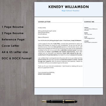 Teacher Resume Template Download With Cover Letter In Microsoft Word