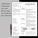 Teacher resume template with cover letter and reference pa