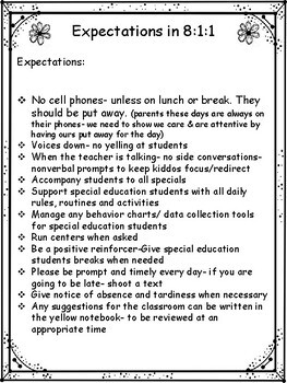 Teacher's Aides Expectations- jumping off point