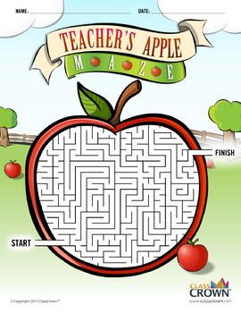 Teacher's Apple Maze – Puzzles by ClassCrown – B&W Print Ready